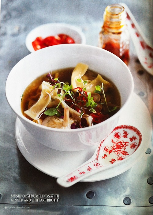 Donna Hay Photography & Styling Challenge - Mushroom Dumplings with Ginger and Shiitake Broth